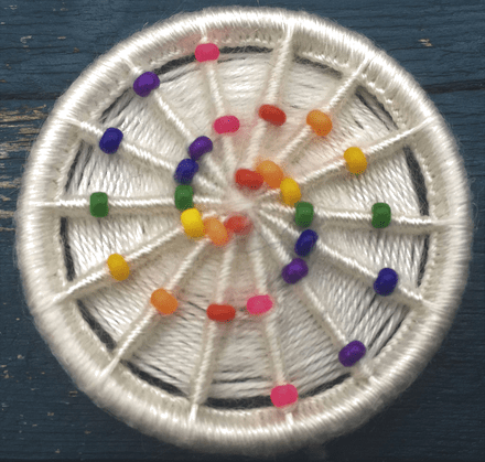 Dorset Button Jewellery Kit - Rainbow Spiral Beaded Brooch