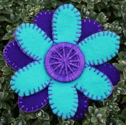 Dorset Button Sewing Kit - Flower Brooch, Purple and Cyan