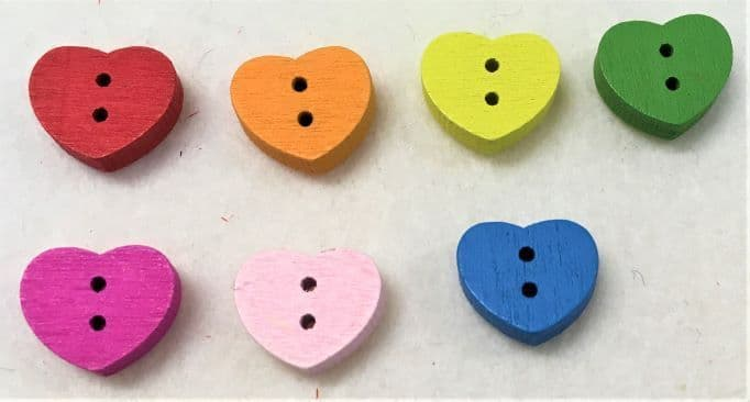 Heart Shaped Coloured Wooden Buttons