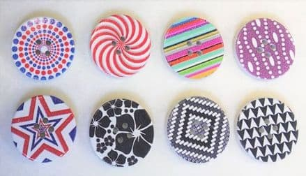 Large Printed Wooden Buttons