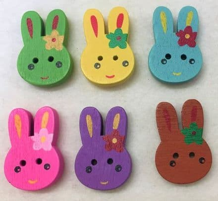 Painted Rabbit Wooden Buttons