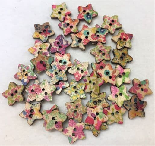 Printed Stars Wooden Buttons