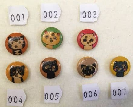 Round Printed Cat Wooden Buttons