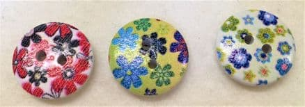 Round Printed Flower Wooden Buttons