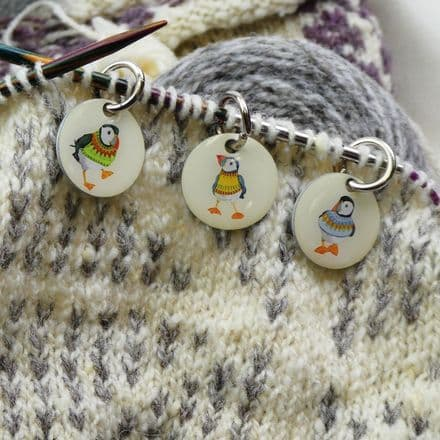 Stitch Marker Knitting - Woolly Puffins