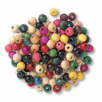 Wooden Coloured Beads