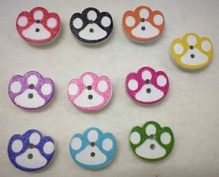Wooden Painted Paw Shaped Buttons