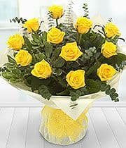 Hand Tied Bouquet of a Dozen Yellow Roses