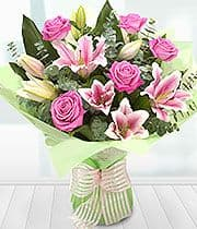 Pink Lily and Rose Aqua Bouquet