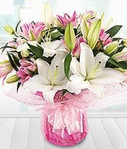 White and Pink Lily Aqua Bouquet
