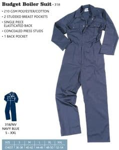 Basic Navy Boilersuit (Chest Size S- 2XL = 36 - 54)