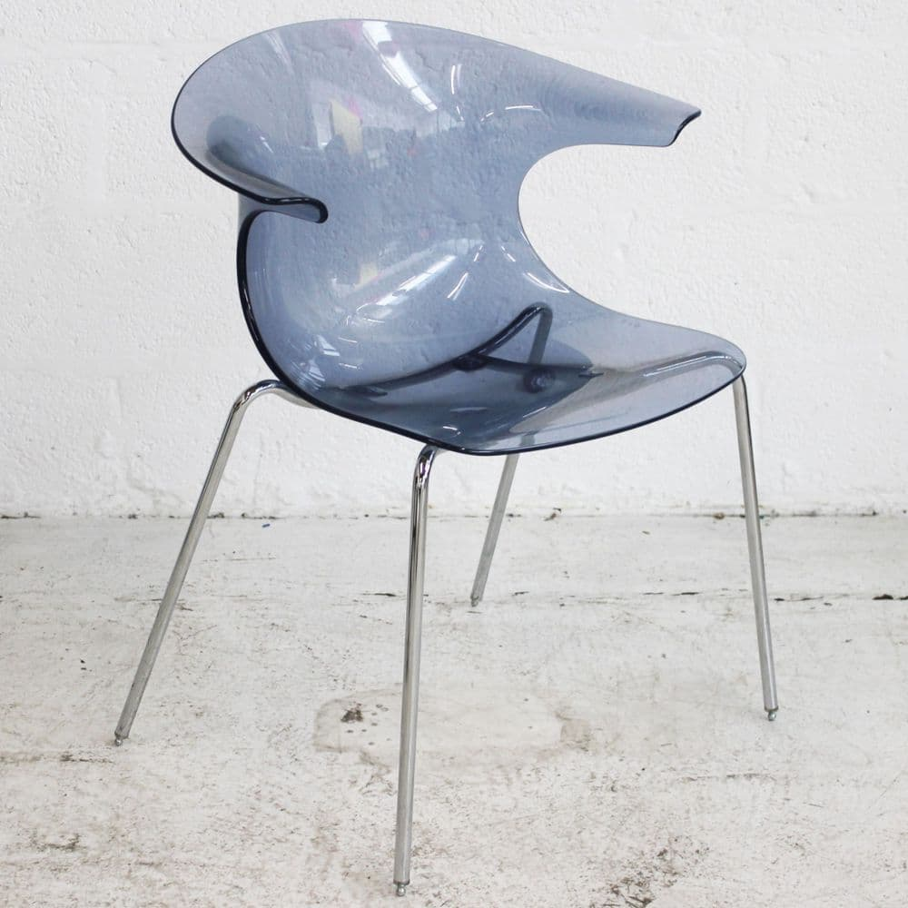 Acrylic Canteen Chair – Blue | Transparent Chair | Blue Plastic Chair