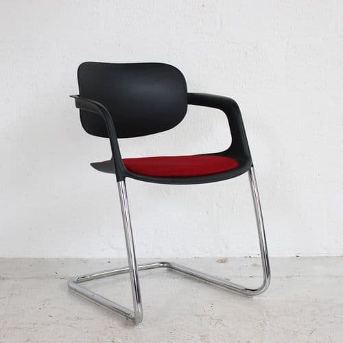 Allermuir A784 Soul Chair - Black Frame w/ Red Seat Pad