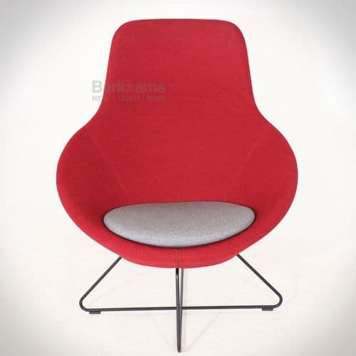 Allermuir Conic Open Lounge Chair - Red/Grey