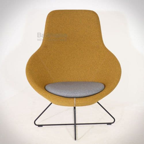 Allermuir Conic Open Lounge Chair - Yellow/Grey
