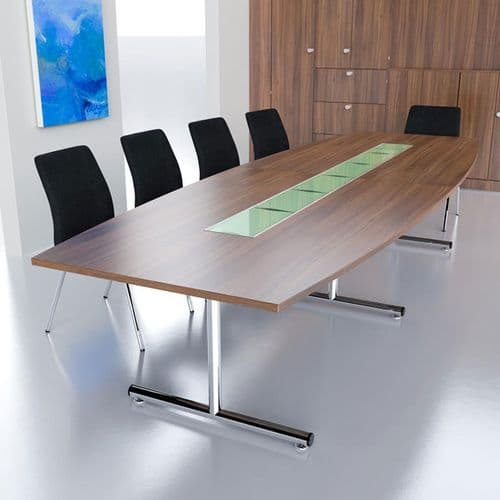 Barrel Shaped Boardroom Table on Chrome T Base in MFC Finish with Glass Tiles