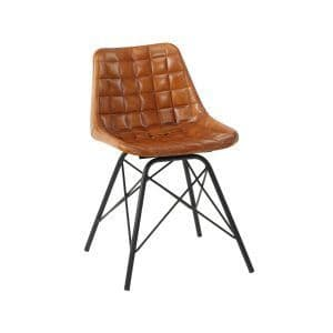Chuck Side Chair - Bruciato | Leather Four Legged Chair | Classic Leather Chair