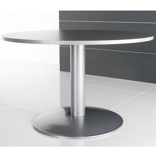 Circular Meeting/Canteen Table on Silver Column Base