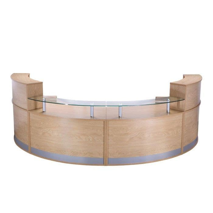 Curved Modular Reception Desk with Glass Sign In