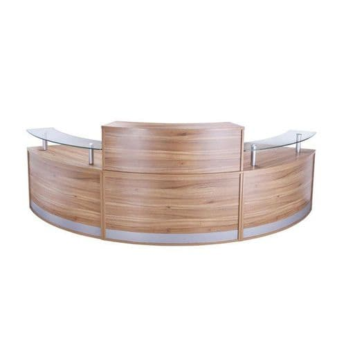 Curved Reception Desk with Glass Sign in