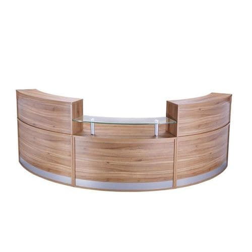 Curved Reception Desk with Glass Sign in Area