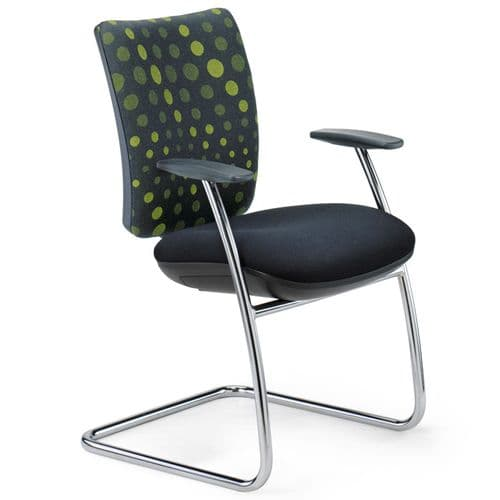 Deep Cushioned Meeting Chair with Fixed Arms