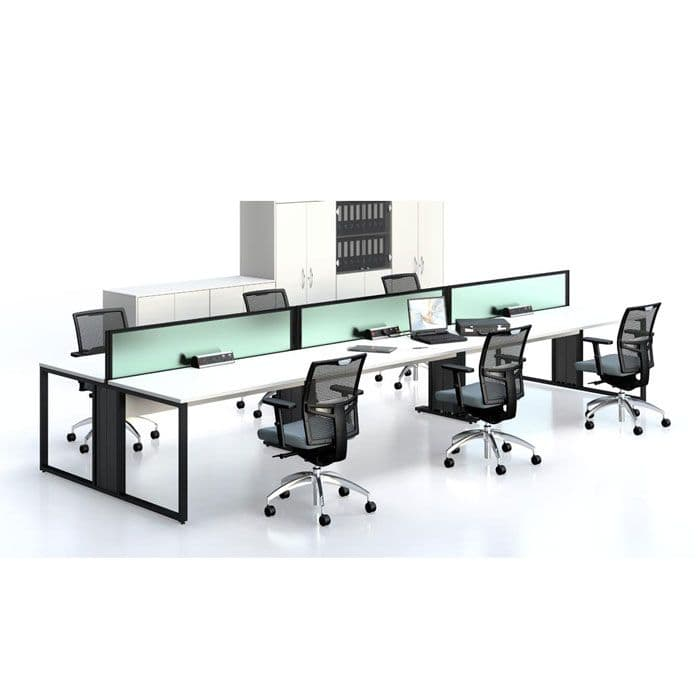 Double Sided Bench Desk With Sliding Tops | long office desk | office desking for multiple users