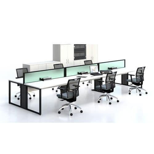 Double Sided Bench Desk With Sliding Tops