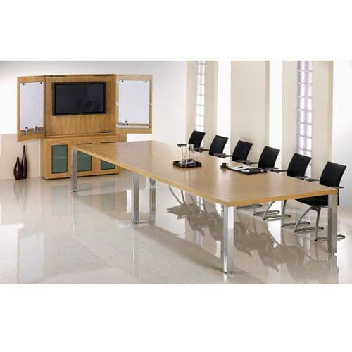 Exceptional Rectangular Boardroom Table with Inlay