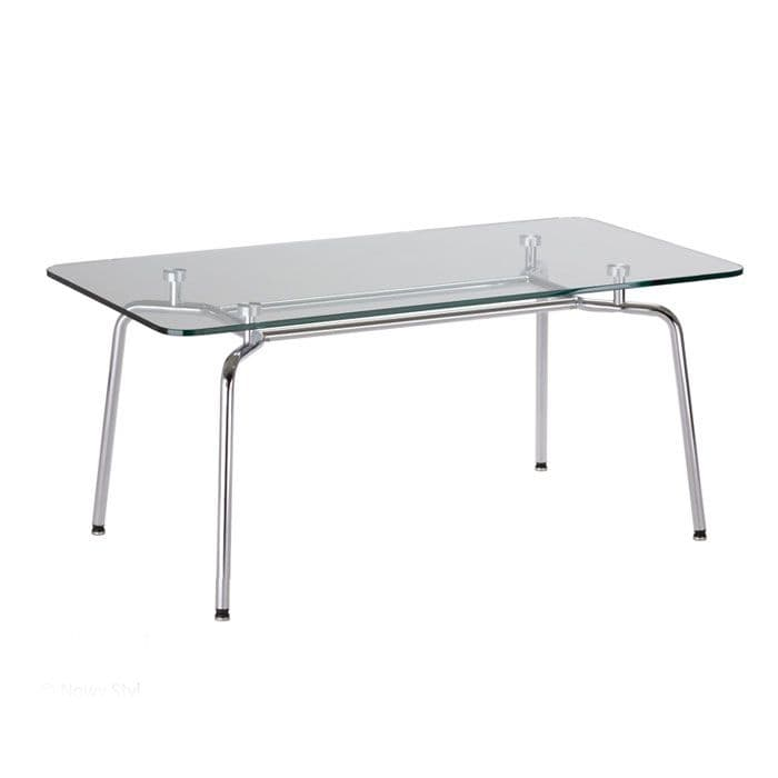 Glass Coffee Table on Chrome Frame | reception table | glass table for office