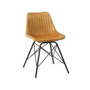 Marco Side Chair - Light Tan | Leather Four Legged Chair | Classic Leather Chair