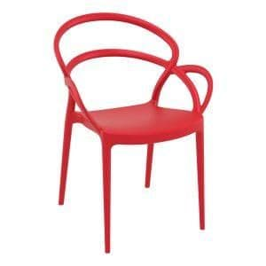 Mila Arm Chair - Red| Plastic Bistro Chair | Stylish Cafe Chair