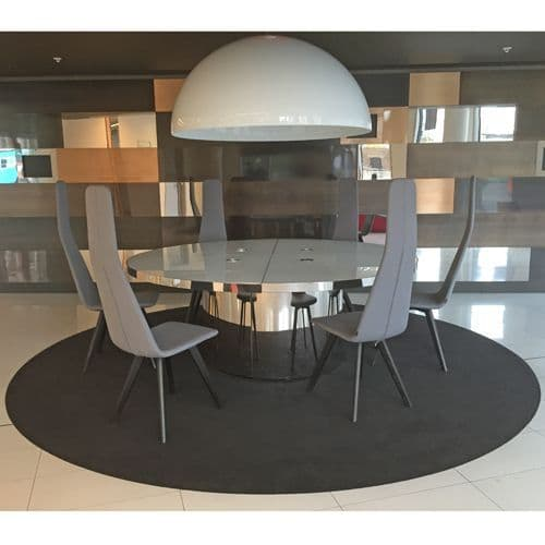 Modern White Glass and Chrome base Round Table