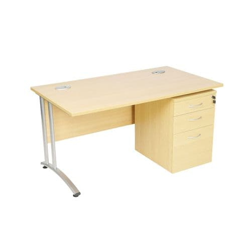 New Rectangular Desk with Silver Cantilever Frame