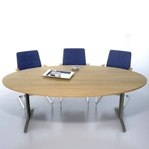 Oval Meeting Table - Available in MFC or Veneer