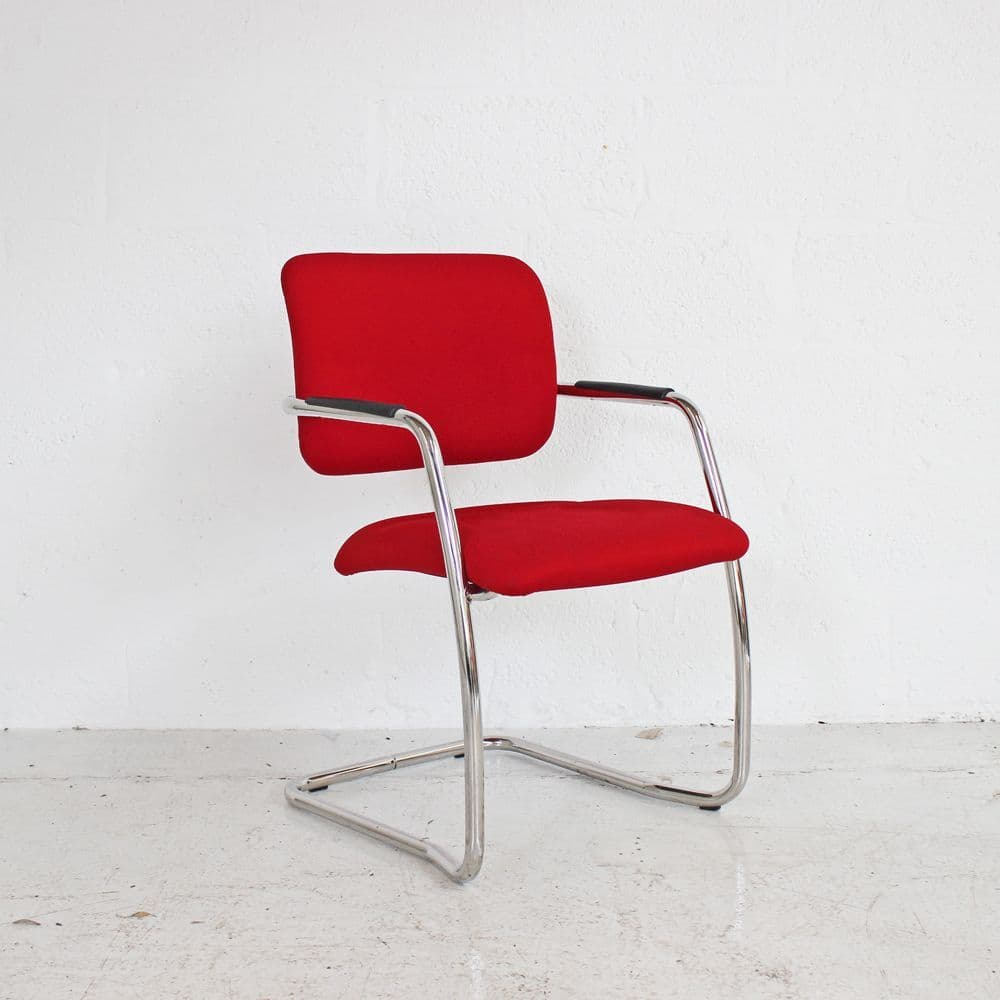 Red Cantilever Meeting Chair (Stackable)   conference chair   boardroom chair