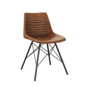 Remy Side Chair - Vintage Tan | Leather Four Legged Chair | Classic Leather Chair
