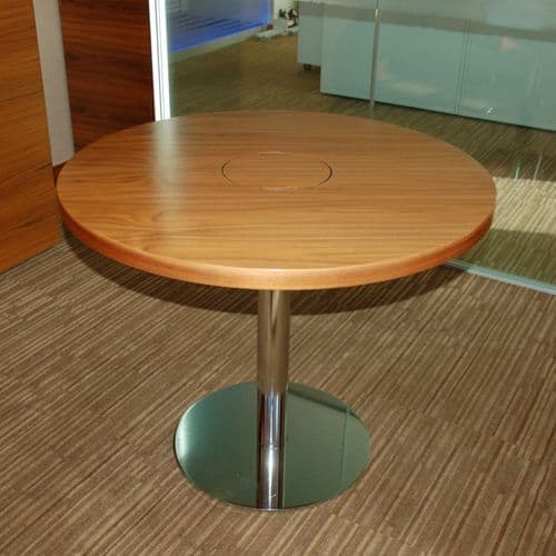 Round Walnut Veneer Table 900mm Diameter