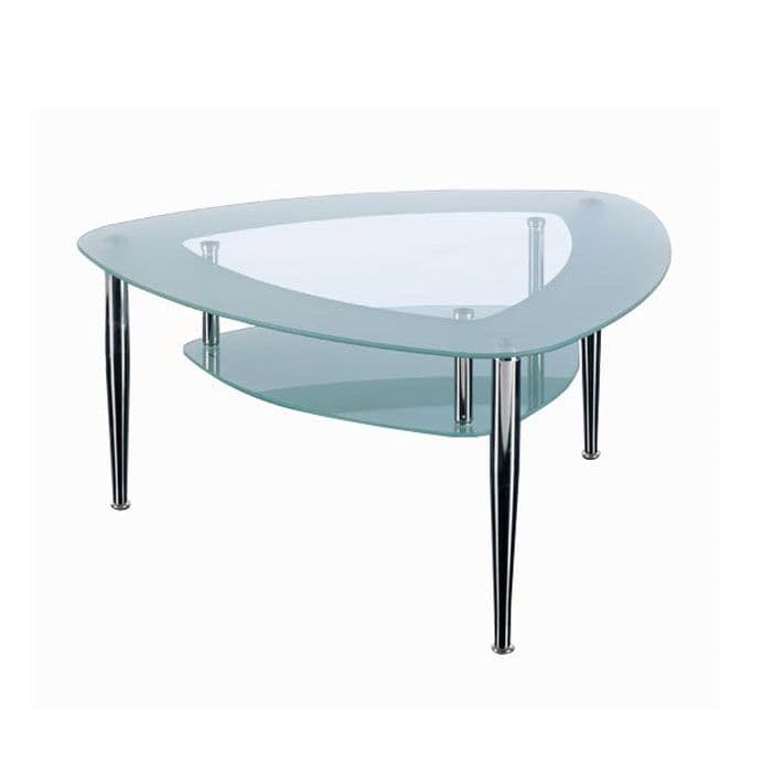 Shield Shaped Glass Reception Table | reception table in glass | glass waiting room table