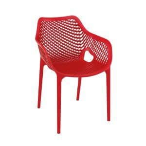 Spring Chair - Red | Plastic Mesh Chair | Plastic Outdoor Chair