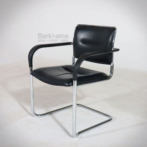 Stackable Kusch and Co Black Leather Meeting Chairs