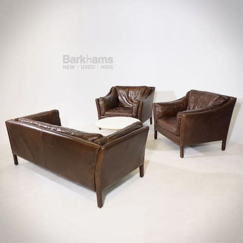 Vintage Dark Leather Sofa and Chairs set