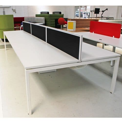 White Bench Desk with Sliding Tops and Screens