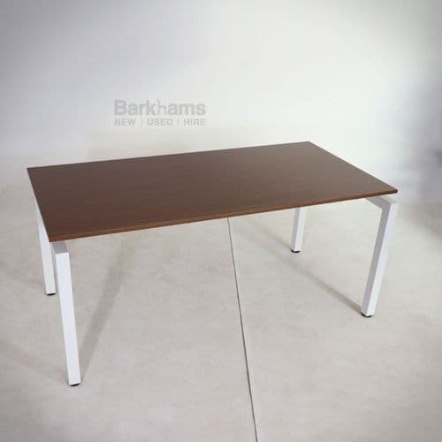 White framed flex desk with walnut top