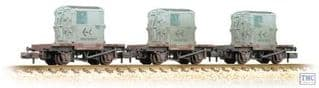 Graham Farish 377-335 Triple Pack Weathered Conflat BR Bauxite AF Containers Light Blue