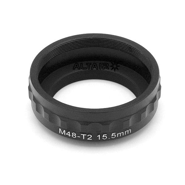 15.5mm M48 to T2 Thread Converter Spacer Extension Ring - Easy Grip for Astro cameras
