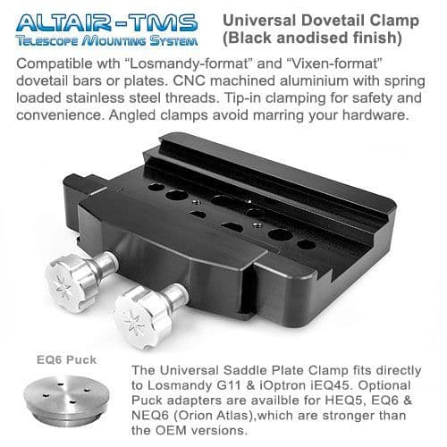 Altair TMS Heavy Duty Universal Dovetail Plate Clamp for iEQ45 G11 EQ6 HEQ5 Black