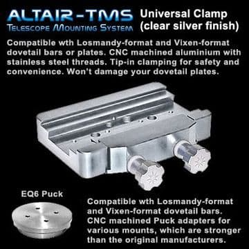 Altair TMS Heavy Duty Universal Saddle Plate for iEQ45 G11 EQ6 HEQ5 Clear Silver