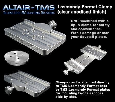 Altair TMS - Losmandy Dovetail Plate Clamp Upgrade Skywatcher NEQ6 EQ6 HEQ5 Clear Silver