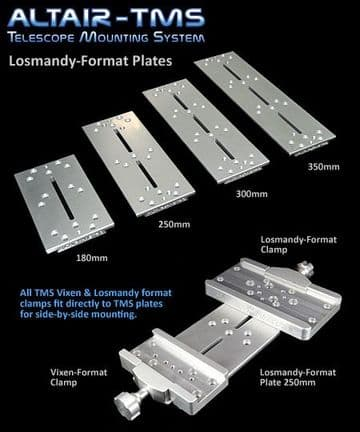 Altair TMS Losmandy-format Dovetail Plate 180mm Clear Silver